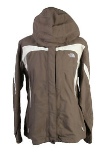 The-North-Face-Windbreaker-Jacket-Coat-Womens-Removable-Hood-L-Brown-C1922