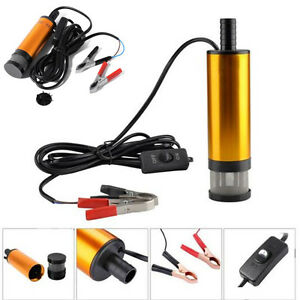 12V Aluminum Alloy Submersible Pump 38mm Water Oil Diesel Fuel Transfer 12 L/min