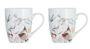 2-X-Blanc-Beige-Pays-Poules-Porcelaine-Fine-Tasse-Diner-Vaisselle-380ML