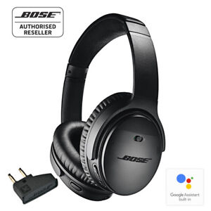 BOSE-QC35-ii-Wireless-Noise-Cancelling-Headphones-BLACK-with-airline-adapter