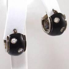 "Sterling Silver Diamonique DQ CZ Black Enamel Huggie Hoop Earrings 5/8"""
