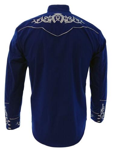 Men/'s Charro Shirt Camisa Charra El General Western Wear Color Blue Long Sleeve