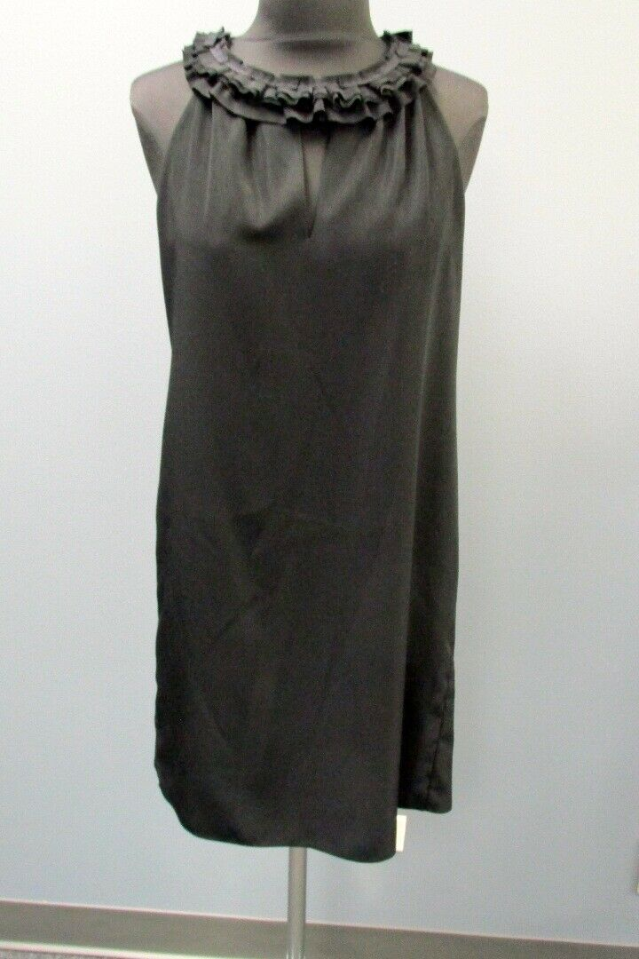 T TAHARI schwarz Ruffle Neck Solid Lined Sleeveless Iman Dress NWT Sz 4 GG1467