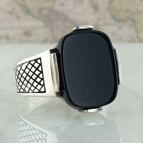 925 Sterling Silber Mens Ring Schwarz Onyx Edelstein  Handgefertigt Türkei Stil