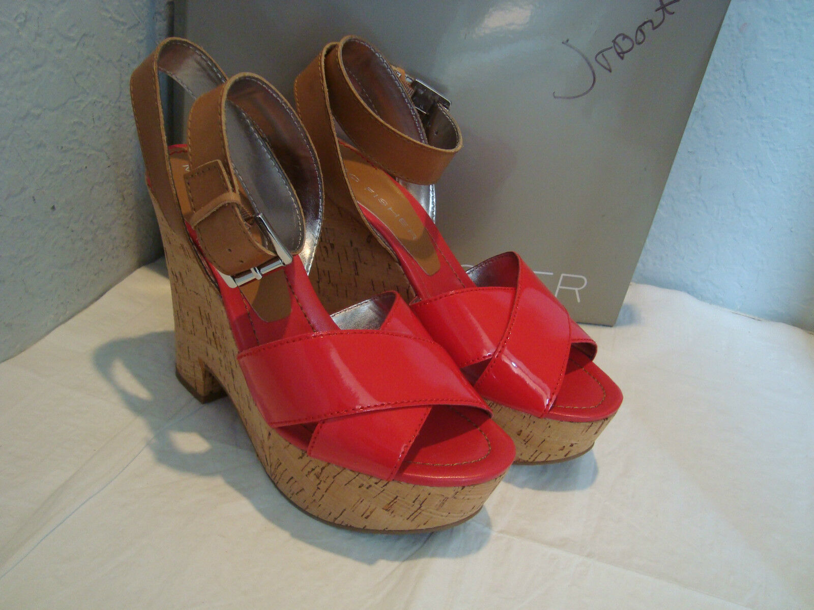NOUVEAU MARC FISHER FEMME Sabina Orange Sanguine en en en Cuir Compensées Sandales Chaussures 9.5 Med b2dc4f