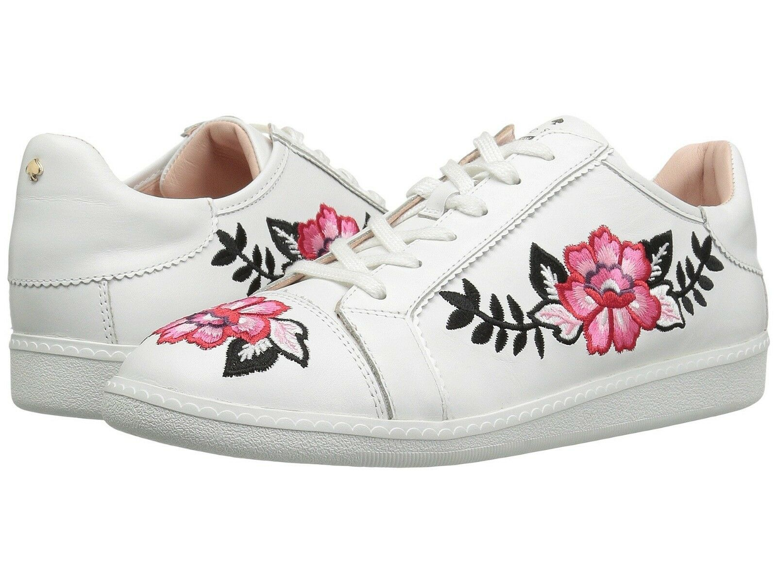 NEW Kate Spade White Floral Embroidered Leather Sneaker lace up Casual Flat Box