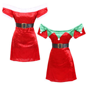 LADIES-OFF-THE-SHOULDER-VELOUR-CHRISTMAS-DRESSES-SEXY-XMAS-COSTUMES-FANCY-DRESS