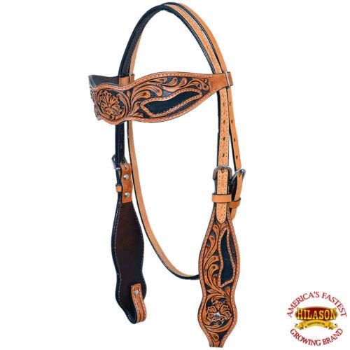 C-K-HS Hilason Western Horse Headstall Bridle American Leather Tan Floral Black