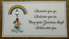 """Lockdown Gift Personalised Rainbow /""""Stay Safe /& Drink Gin/"""" Glass Charm"""
