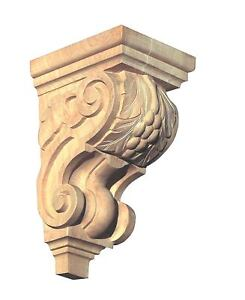 7 3 4 H X 3 1 4 W 10 H X 5 W Hand Carved Red Oak Birch Wood Grape Corbel Onlay Ebay