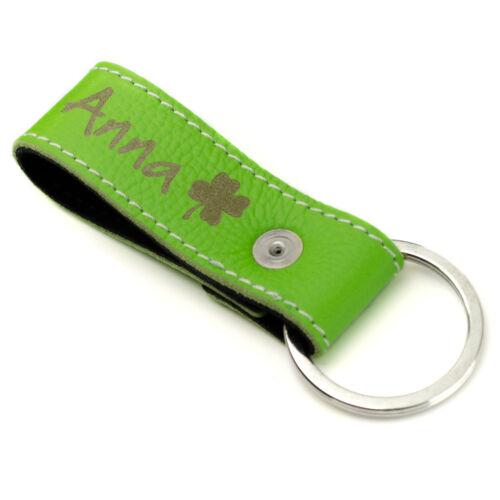 Schlüsselanhänger mit Namen Gravur Wunschtext echt Leder Grün
