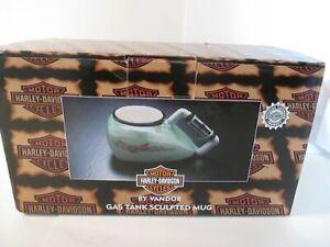 Harley-Gas-Serbatoio-Tazza-1998-Originale-Scatola-Mano-in-Turchese-Ceramica-Cina