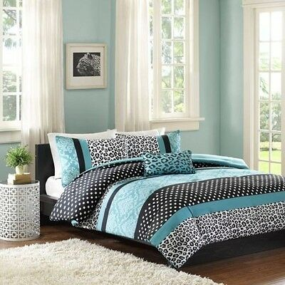 BEAUTIFUL PINK BLACK BLUE TEAL ANIMAL LEOPARD POLKA DOT TEEN GIRL COMFORTER SET