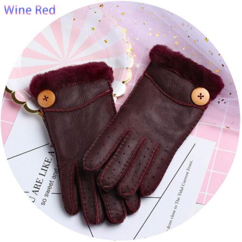 Frauen warme Winter Pelz Wolle Lammfell Outdoor Leder Vollfinger Handschuhe