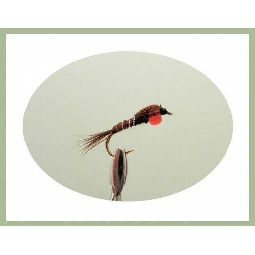 Pack de 8 rouge Hothead Pheasant Tail Pêche mouches pour truites et ombre 10//12