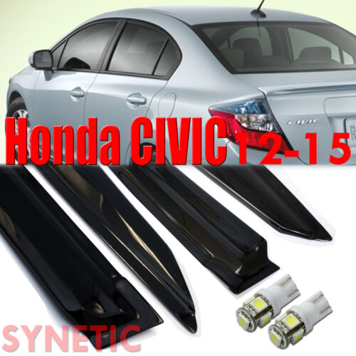 12-15 Honda Civic Sedan 4D Smoke Window Vent Visors White T10//194//921 LED Bulbs