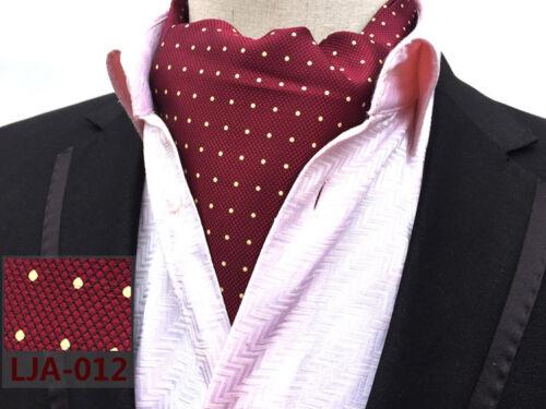 Polka Dot Cravat Blue Red Black Purple White Silk Blend Wedding Ascot Tie