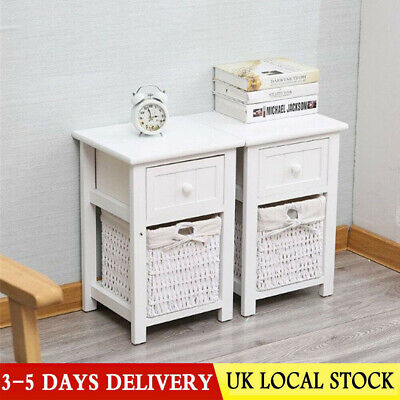 2 X Bedside Tables With Wicker Storage, White Wicker Bedroom Furniture Used
