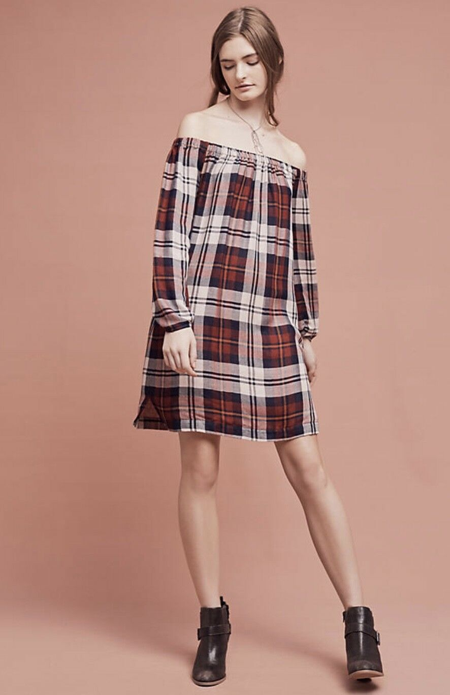 NEW Anthropologie Plaid Off The Shoulder Plaid Swing Tunic Dress XL