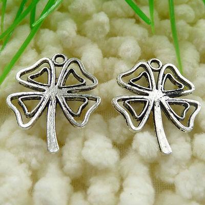 70 pieces tibetan silver shamrock clover lucky and Irish charms 22x18mm #397