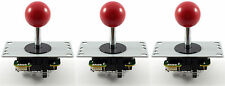 3 x Genuine Sanwa JLF-TP-8YT Ball Top Arcade Joysticks, 4/8 Way (Red) MAME JAMMA