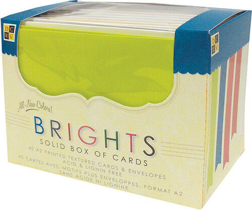 "-Bright Solids 40//Pkg DCWV Box Of A2 Cards /& Envelopes 4.375/""X5.625/"""