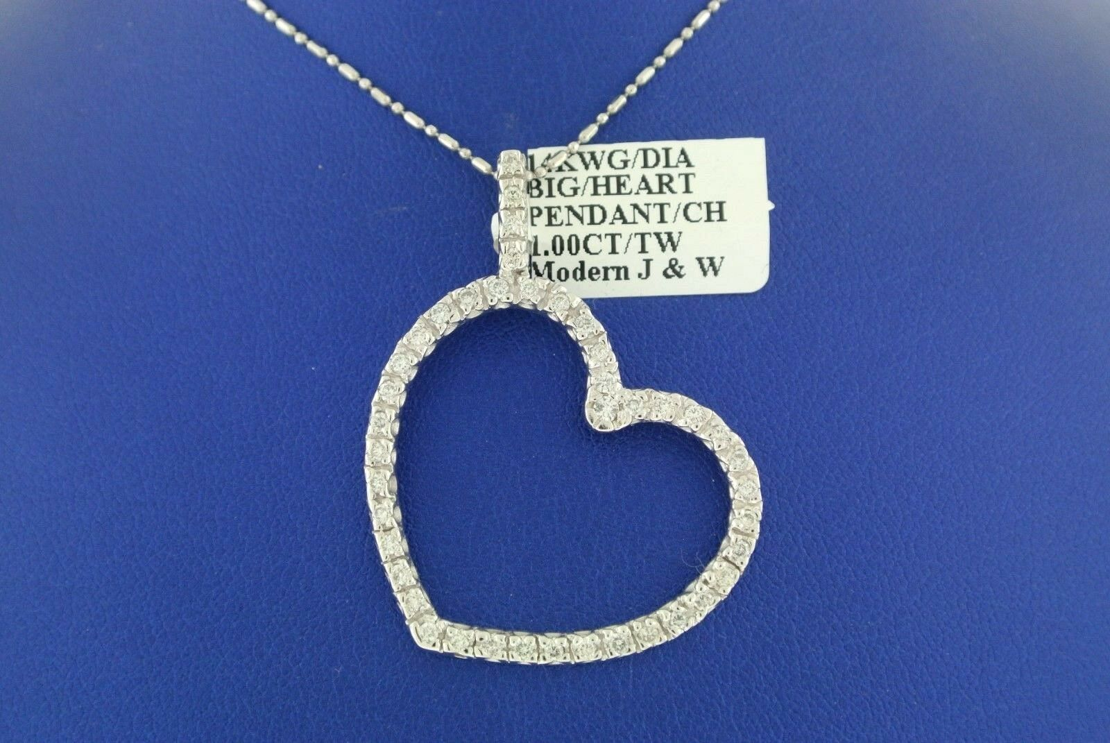 SOLID 14K WHITE gold CHAIN 1.00 CT DIAMOND HEART PENDANT 6.8 GM, S100613