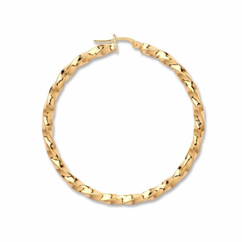 9ct 375 Yellow Gold Twisted Hoop Earrings Fully Hallmarked