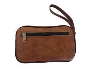 98f6cb034126 Mens Vintage Leather Toiletry Bag Shaving Case Organizer Travel Dopp ...