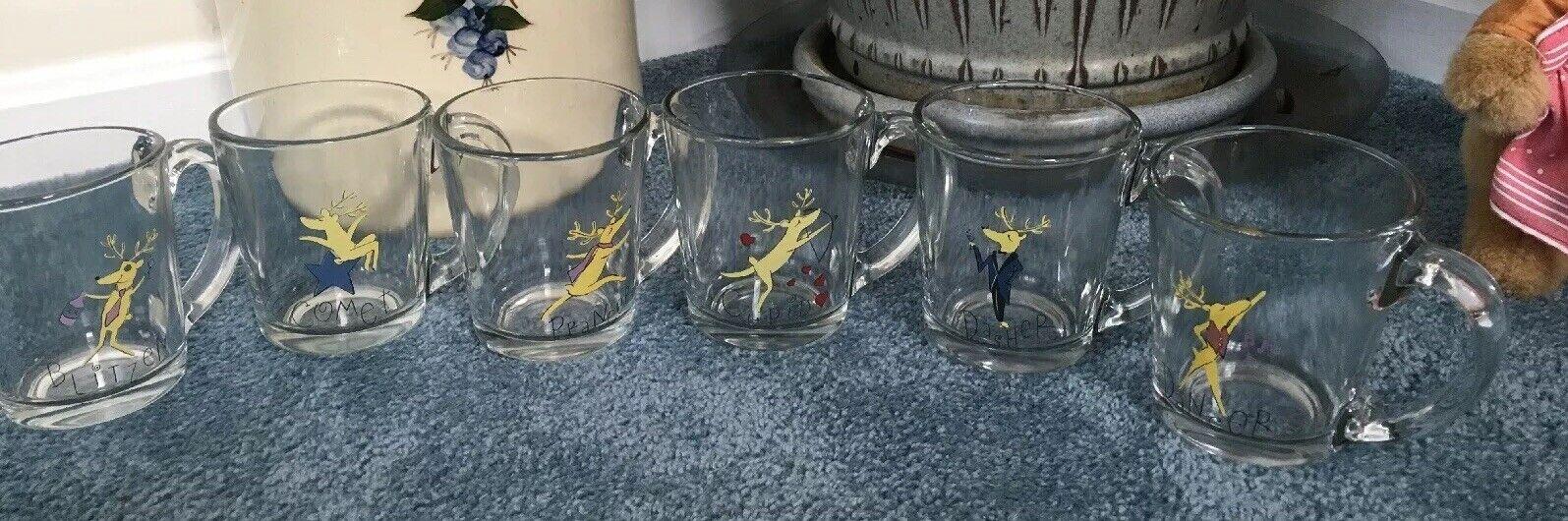 (Set Of Six) Pottery Barn Reindeer Glass Christmas Holiday Mugs With Handles