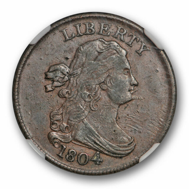 1804 Spiked Chin Draped Bust Half Cent C-6 1/2C NGC XF 40 Extra Fine R-2