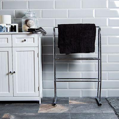 Towel Holder Free Standing Chrome Bathroom Rack Floor Rail Unit By Home Discount