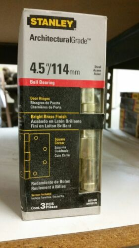 """Stanley Door Hinge Ball Bearing S821-025 Bright Brass 4.5/""""//114mm READY TO SHIP!"""