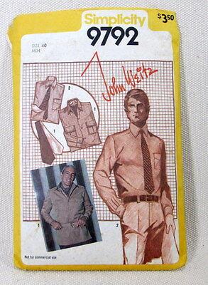 Simplicity 9792 - Man's Dress Shirt - Size 40 - John Weitz Design
