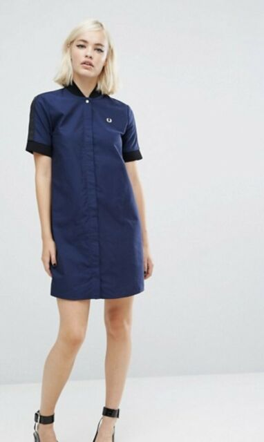 Navy Blue UK 6 8 10 12 14 Fred Perry Ringer Style Tapered Polo Shirt Dress