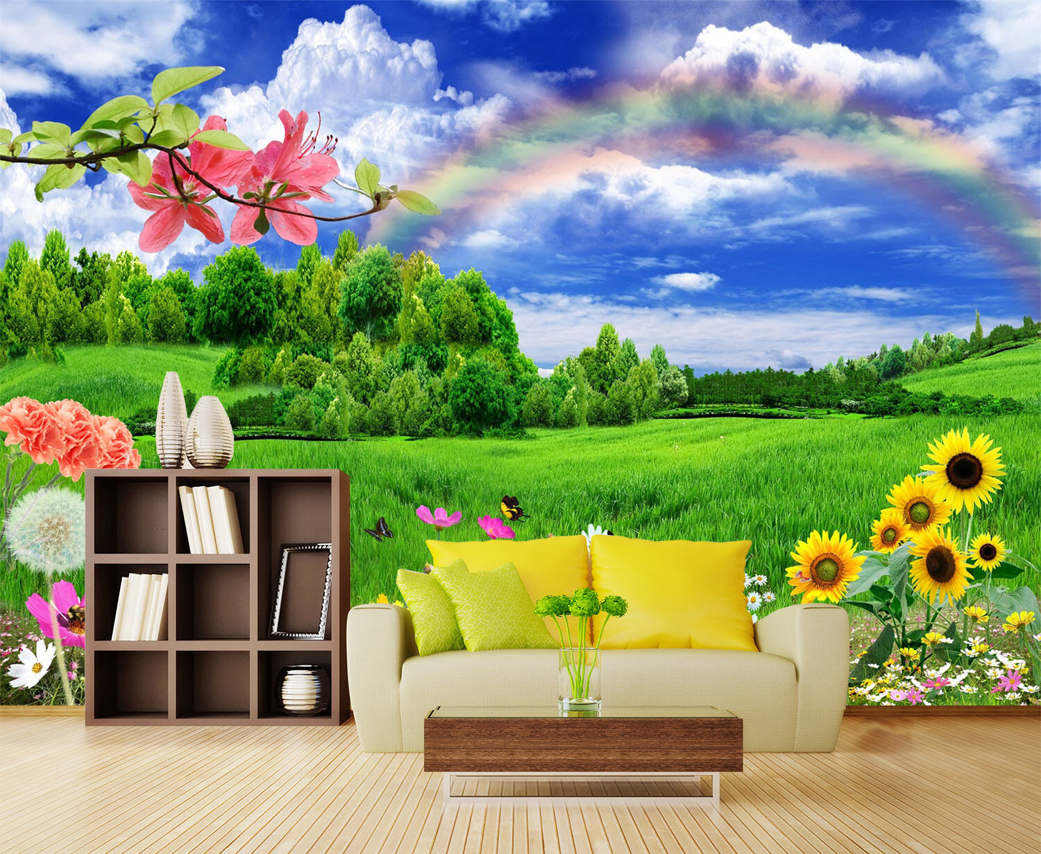 3D Rainbow, meadow 354 Wall Paper Print Wall Decal Deco Indoor Wall Murals