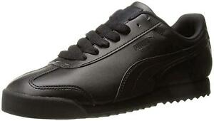 Puma-Mens-Roma-Leather-Low-Top-Lace-Up-Fashion-Sneakers-Black-Black-Size-9-0-I