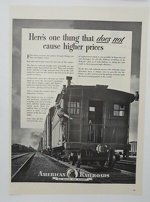 Advertising Persevering Original Print Ad 1943 American Railroads One Thing Does Not Cause High Prices