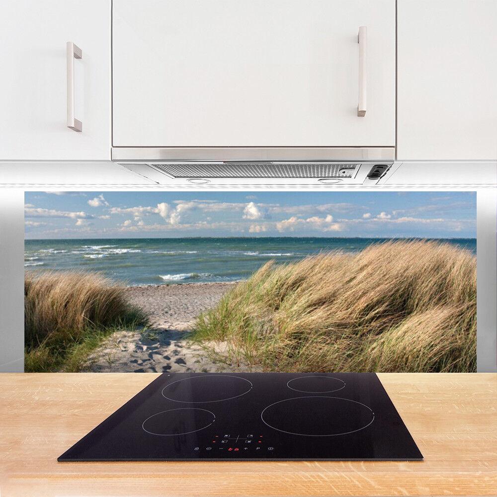 Crédence de cuisine en en en verre Panneau 125x50 Paysage Sentier Herbe Mer a67341