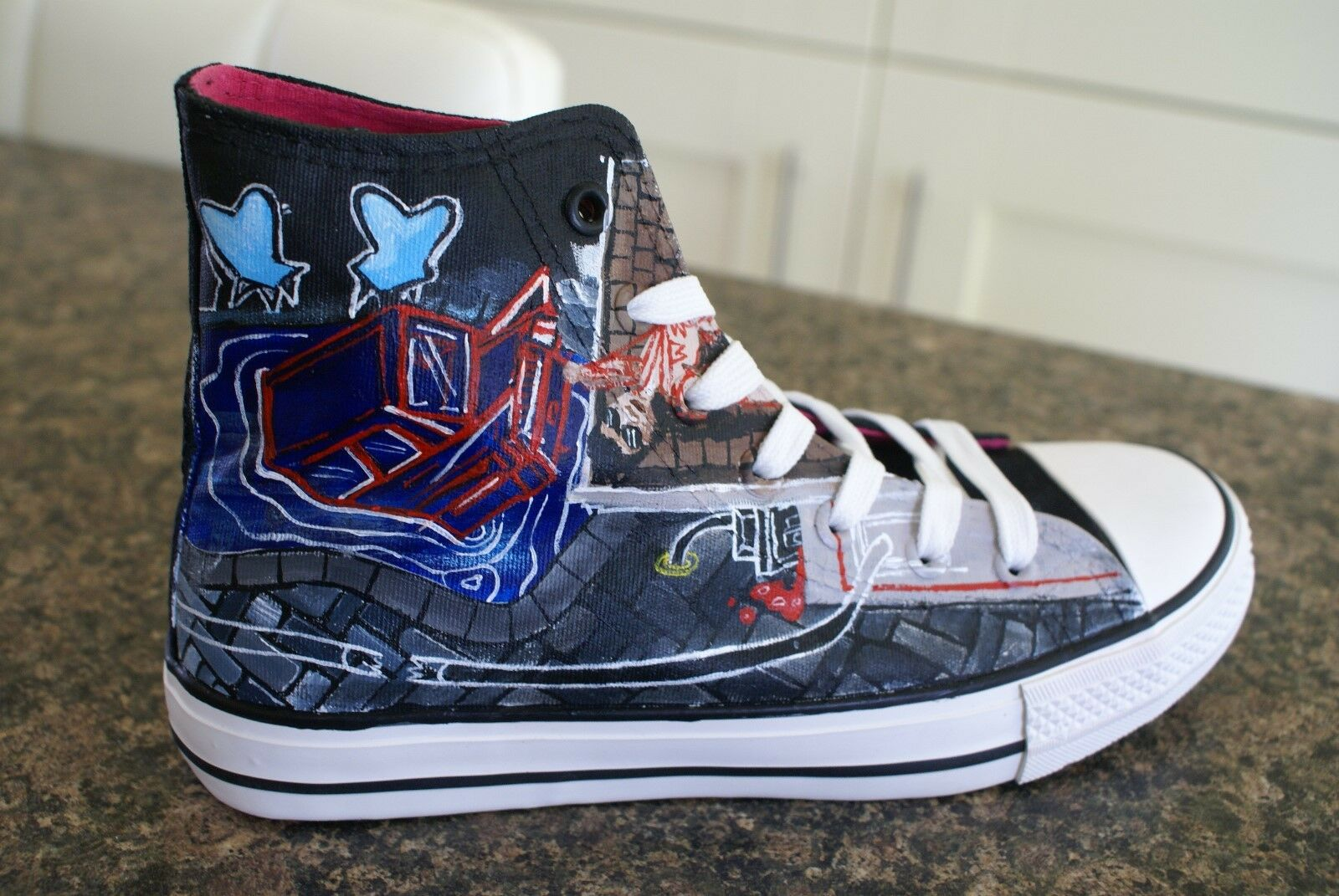 PANIC  AT THE DISCO inspiROT CUSTOM HAND PAINTED HIGH TOPS MADE TO ORDER