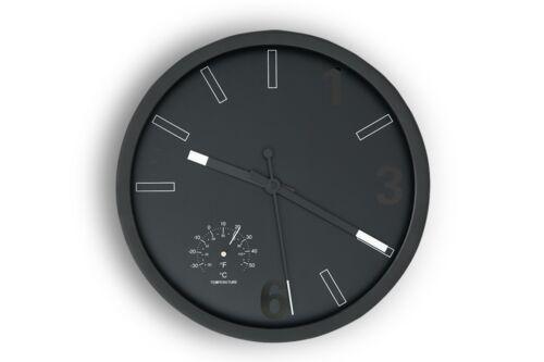 TEMPO Wanduhr Uhr Wand modern rund Deko Design Kunststoff schwarz TOP! KONSIMO