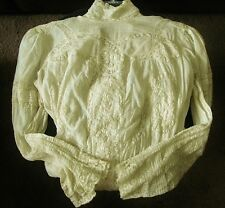 ANTIQUE VINTAGE 1800'S VICTORIAN ECRU IVORY CREAM LACE TEA WEDDING DRESS SMALL