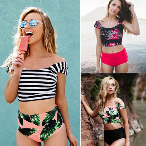 Damen Push-up Gestreift Hohe Taille Bikini Set Tropical Badeanzug Beach Bademode
