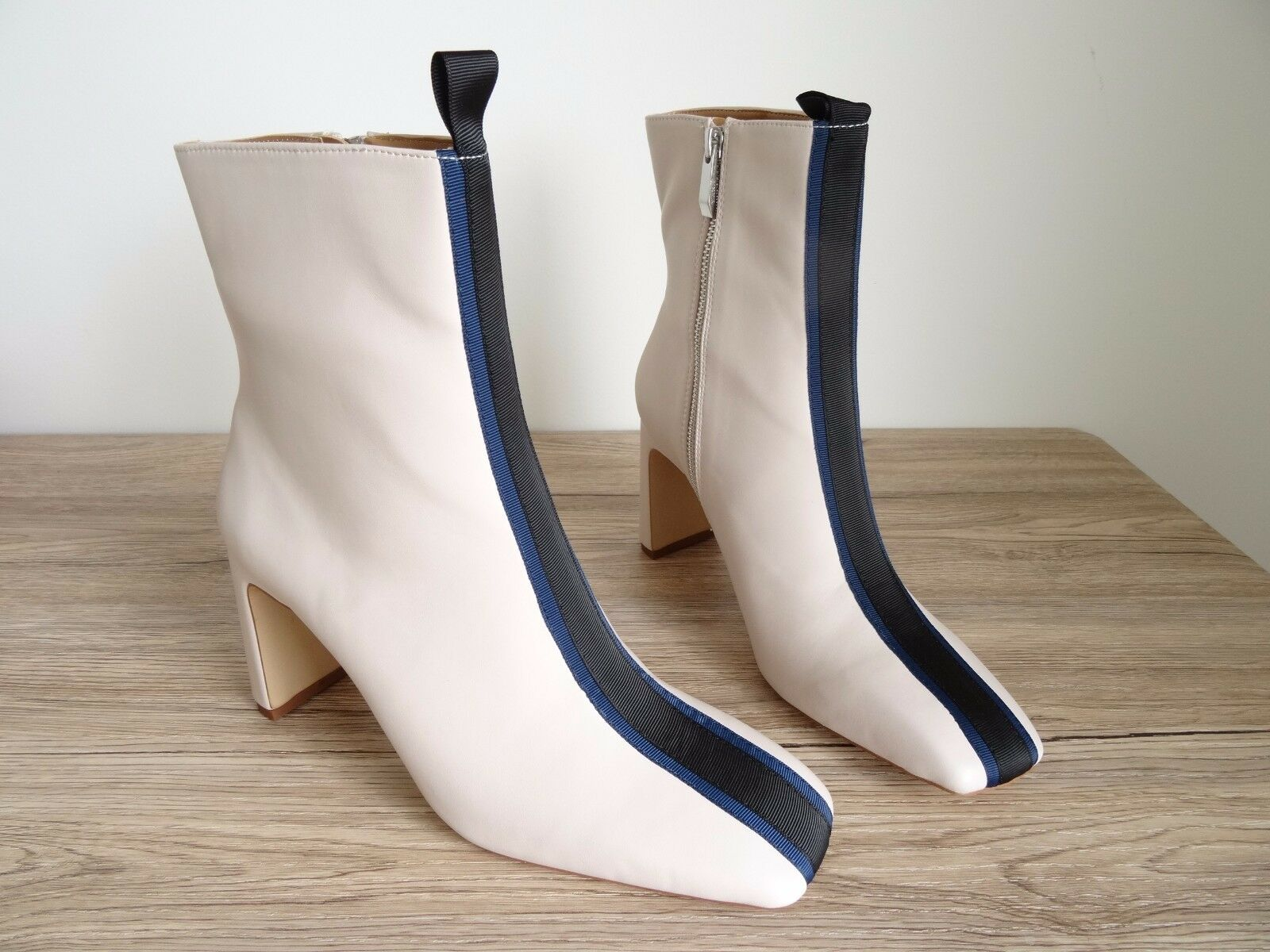 ZARA ECRU CONTRAST HIGH HEEL ANKLE BOOTS SIZE UK 7 EU 40 USA 9