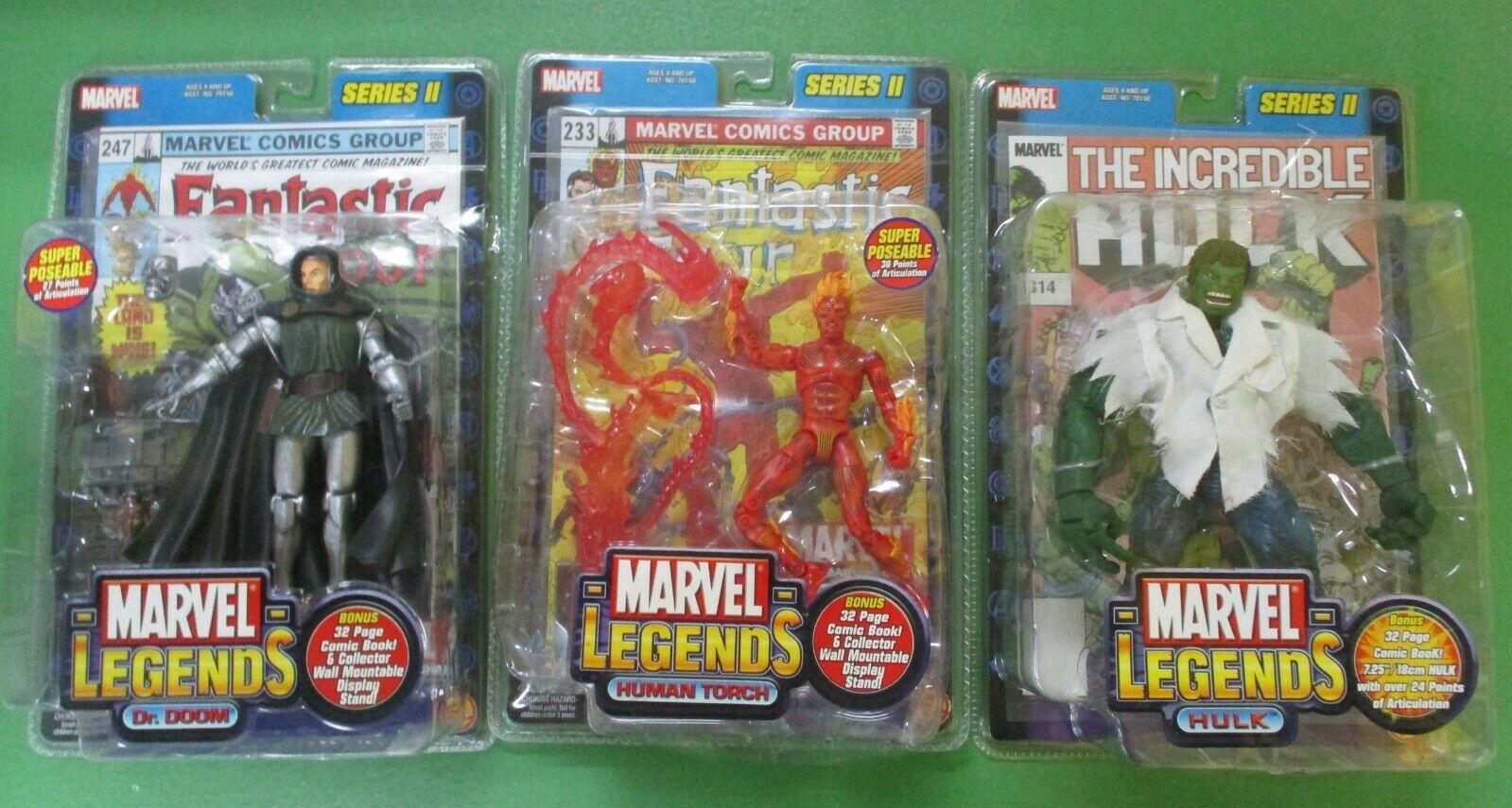 Marvel Legends Leksaker Mycket av 3- mänsklig Torch, Dr Doom, Hulk