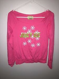 JUICY-COUTURE-Womens-Long-Sleeve-Large-Pink-T-Shirt-L