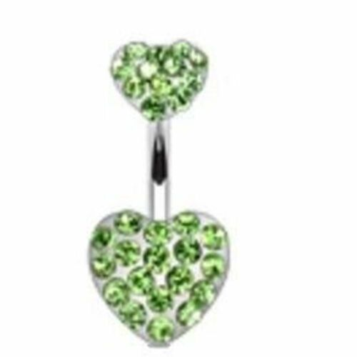 Belly Button Ring Navel Double Gem Heart Body Jewelry 14g