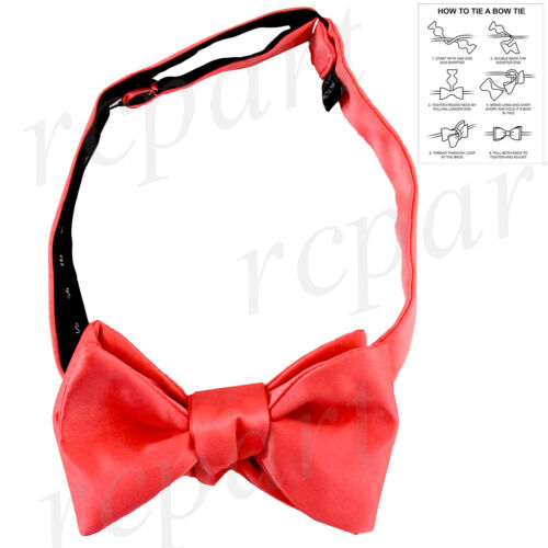 New in box men/'s self tied bowtie set solid 100/% polyester formal wedding coral