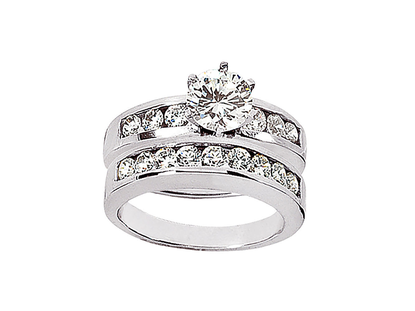 Genuine 1.50Ct Round Cut Diamond Engagement Ring Set Solid 10k gold KL I1