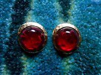 Kenneth Jay Lane Hammered Satin Gold Ruby Swirl Button Pierced Earrings